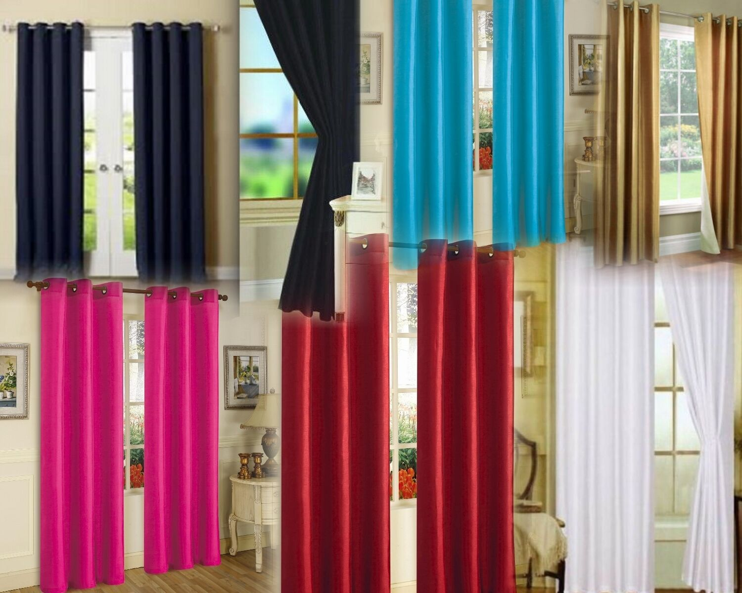 2 GROMMET PANEL TEXTURE WINDOW CURTAINS  FOAM LINED 99% BLAC