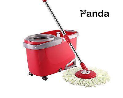 Panda Premium Effortless Wring Spin Mop and Bucket Set (2 Mop Rods+4 Mop Heads)