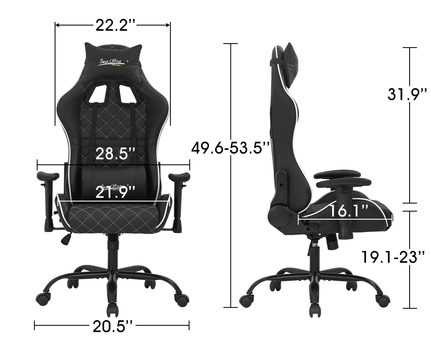 Gaming Chair Office Chair Computer Chair with Lumbar Support Headrest Adjustable Business & Industrial