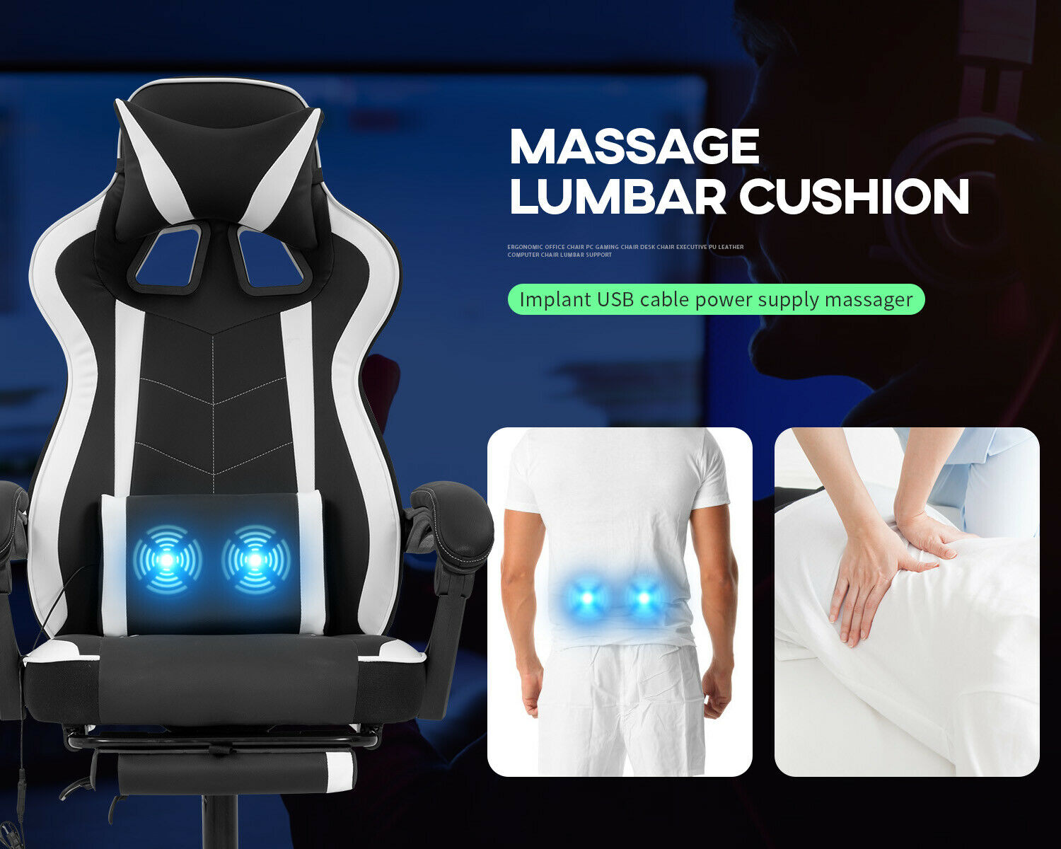 PC Gaming Chair Home Office Chair Racing Computer Chair with Lumbar Support Business & Industrial