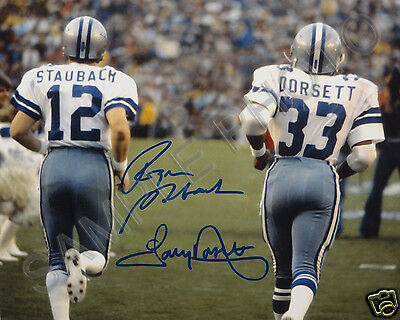 ROGER STAUBACH TONY DORSETT DALLAS COWBOYS SIGNED 8X10 AUTOGRAPHED PHOTO RP