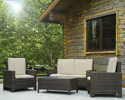 Patio Sofa Set 4 Pcs Outdoor Furniture Set PE Rattan Wicker Cushion...