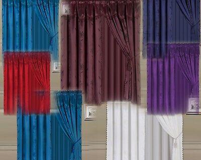 8 Piece Nada Leaf Design Silky Valance Panel Sheer Rod Pocket Window Curtain Set