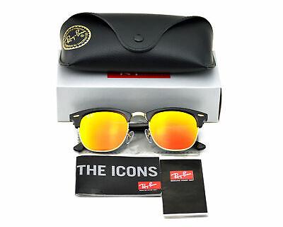 Ray-Ban RB3016 Clubmaster Flash Lenses 901/69 Black Frame/Orange Sunglasses (Cheap Ray Ban Clubmaster Glasses)