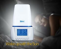 Halter Wake Up Light Sunrise Alarm Clock Simulation Lamp with Natural Sounds
