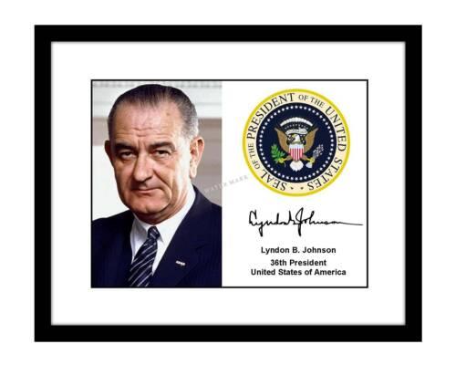 Lyndon B. Johnson 8x10 Signed photo print presidential seal autographed LBJ