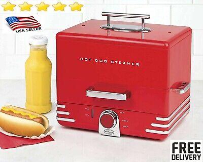 Hot Dog Steamer Cooker Food Dinner Machine Warmer Picinic Cooking Red 24hd 12bun