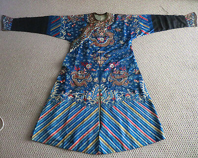 Antique Chinese Embroidered Imperial Dragon Robe