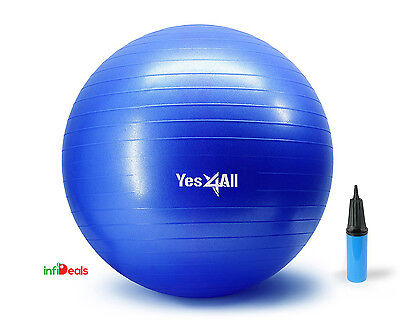 Yoga Ball W Hand Pump Anti Burst Exercise Stability 65cm - Blue - ²TDTLH2D