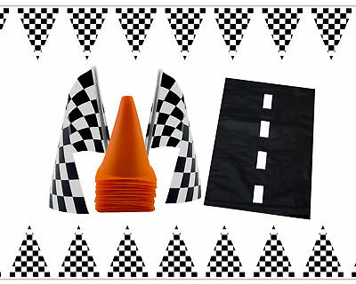Nascar Race Car Themed Birthday Party Decorations Pack Kit Cones Checkered Flags (Race Car Theme)