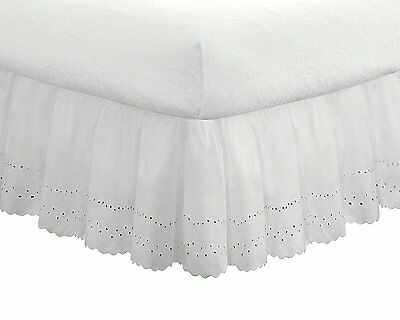 Fresh Ideas Eyelet Ruffled 14-Inch Drop Full Bedskirt, White , New, Free Shippin 14 Inch Drop Full Bedskirt