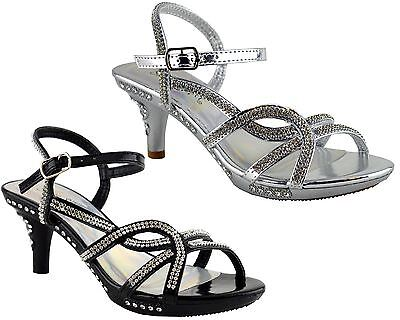 Girls Sandals Stiletto Mid Heel Ankle Strap Platform Wedding Evening Shoes Size