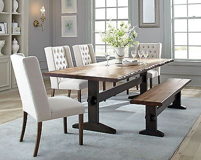 Trestle Table Bench - RUSTIC TRESTLE SOLID WOOD DINING TABLE TUFTED BEIGE CHAIRS BENCH FURNITURE SET
