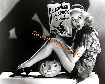 Halloween Pin-up Betty Grable Reading Spooky Stories - 1941- Vintage Photo - Reading Halloween Stories