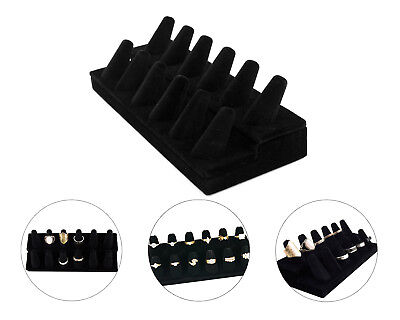 Black Jewelry Holder Display (Black Velvet 12 Ring Finger Display Jewelry Holder Retail Showcase)