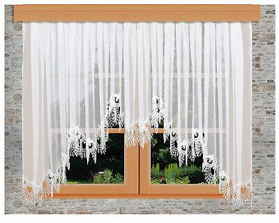 Blumenfenster-Store Nastja Plauener Spitze Reihband Fertiggardine 5-Bogenstore