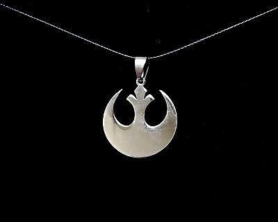 Disney Star Wars Rebel Alliance Legion Chrome Pendant Weaved Necklace Cord