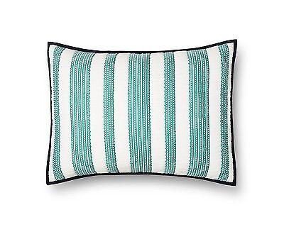 Cotton Stripes Pillow Sham (THRESHOLD TEAL WOVEN STRIPE PILLOW SHAM 100% COTTON NEW IN PACKAGE 20
