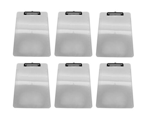 12pk Clear Plastic Clipboards Low Profile Clip 12.5 x 9 Office Products BULK LOT