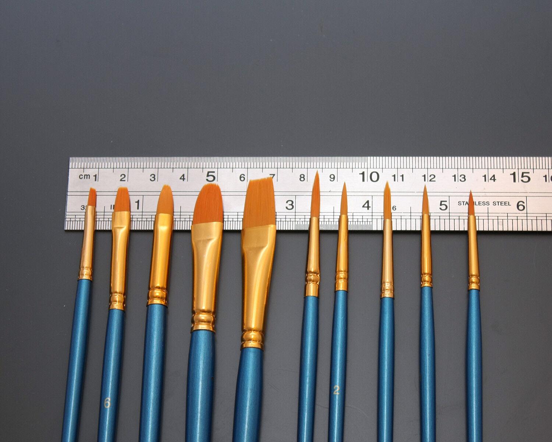 Model Paint Brush Set 10pc Hobby Wargaming Fine Detail Synthetic Hair