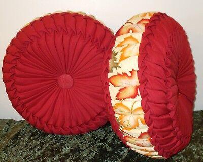 Handmade Round Cushion / Pumpkin Decorative Pillow ~  Set Of - Round Decorative Pillow Set