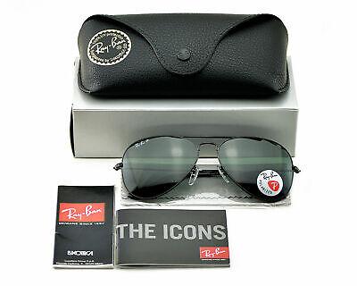 Ray-Ban RB3025 AVIATOR 002/58 Black Green Classic G15 Polarized Sunglasses (Ray Ban Aviator Classic Sunglasses)