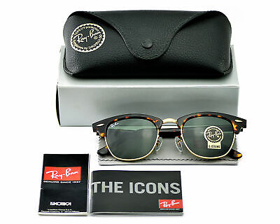 Ray-Ban RB3016 Clubmaster Classic W0366 Tortoise Frame/Green G-15 Lenses (Ray Ban Clubmaster 49mm Sunglasses)