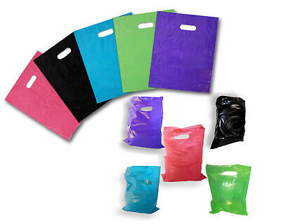 9 X 12 Colored Plastic Merchandise Bags Retail Store Bags Wdie Cut Handles