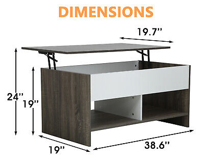 FDW Lift Top Coffee Table With Silent Air Rod Hidden Compartment and Lower Shelf Furniture