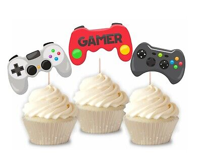 Gamer boy cupcake toppers decorations birthday party set of 12 video -