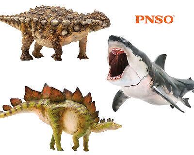 PNSO Ankylosaurus Stegosaurus Megalodon Dinosaur Figure Shark Model Animal