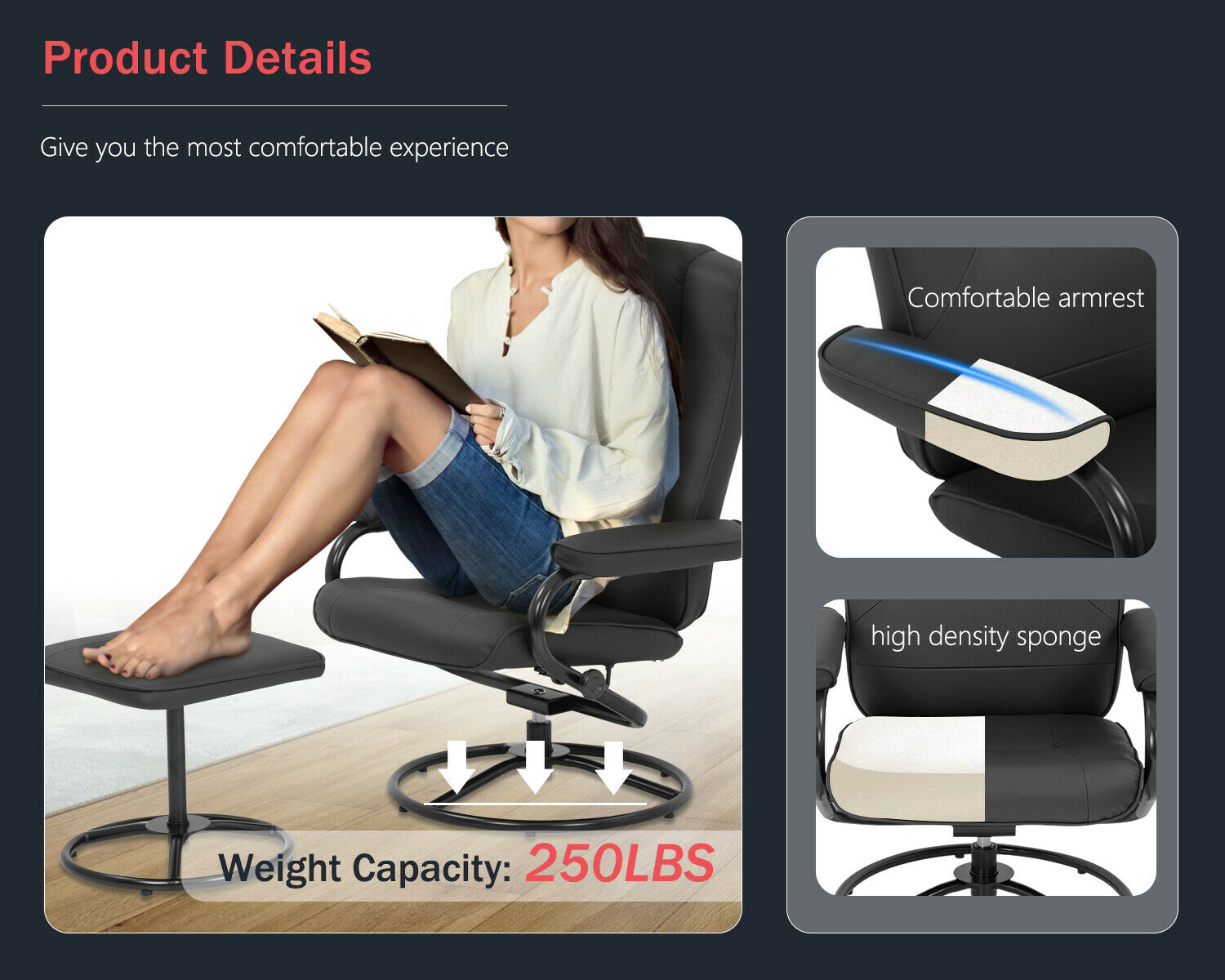 Chair and Ottoman Set Leather Chair with Ottoman Stressless Chair Ergonomic Swiv Chairs