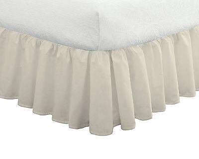 Fresh Ideas Ruffled Poplin Bedskirt Twin, White 14 inch drop length