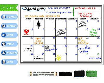 17x11 Magnetic Dry Erase Calendar Fridge Monthly Planner Board Marker Eraser