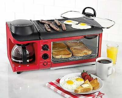 3 In 1 Family Size Breakfast Station Non Stick Griddle Coffee Maker And Toaster