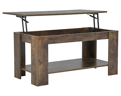 FDW Lift Top Coffee Table With Hidden Compartment and Lower Shelf Silent Air Furniture