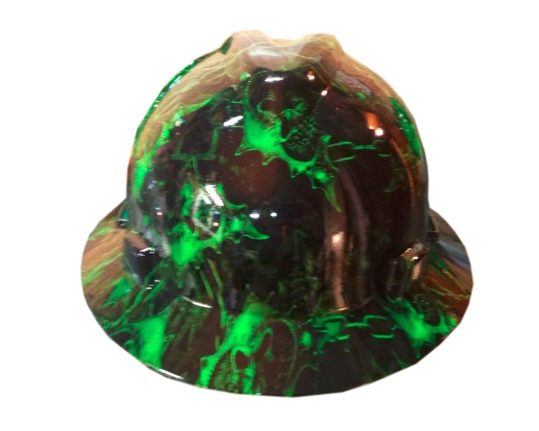 Hydrographic Warrior Green MSA V-Guard Full Brim Hard Hat