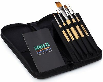 Santa Fe Art Supply Best Quality Artist Paintbrush Travel Set. Acrylic Oil