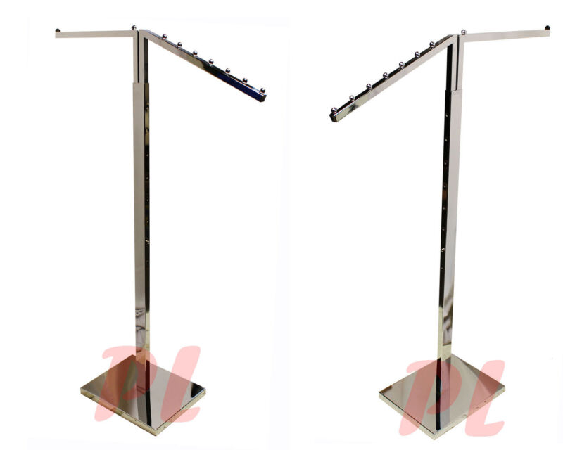 2 WAY Chrome Clothing Garment Retail Display Rack Clothes Hanger Fixture  71