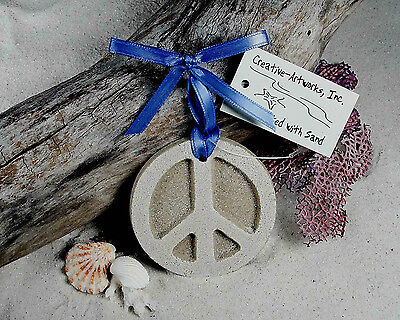 PEACE SIGN  Made with Sand Beach Ornament for the Hippy - Peace Sign Ornaments