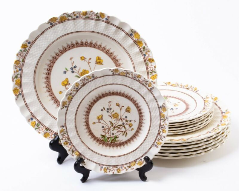 14-pc Set Vintage Copeland Spode English China Buttercup Dinner Salad Plates