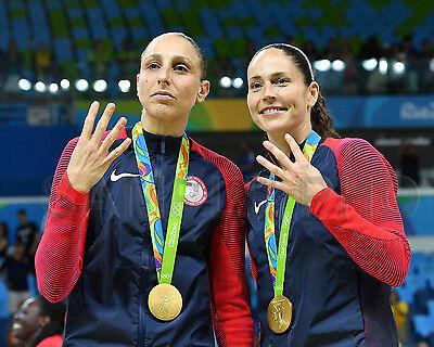 DIANA TAURASI & SUE BIRD USA 2016 OLYMPIC BASKETBALL GOLD MEDAL 8X10 PHOTO