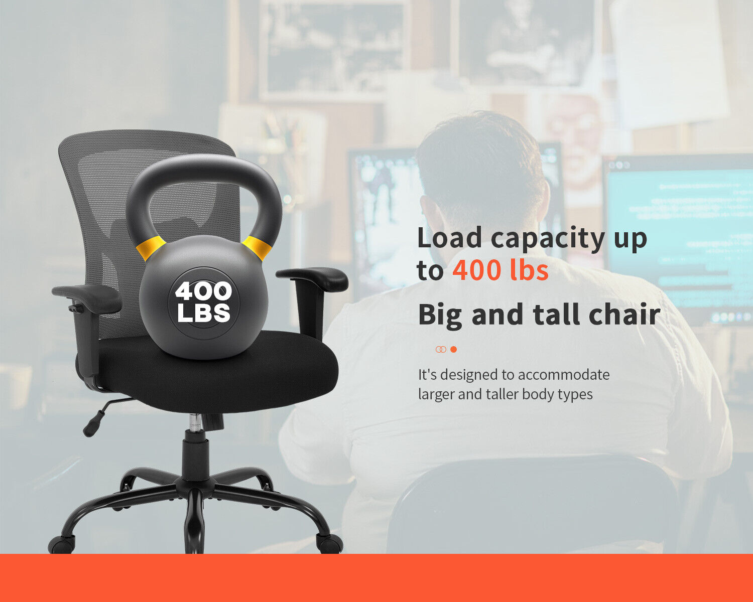 Big and Tall Office Chair 400lbs Wide Seat Mesh Desk Chair Rolling Swivel Business & Industrial