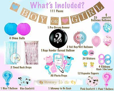 Baby Girl Supplies (Set of 111Pcs Baby Gender Reveal Party Supplies Baby Boy Baby Girl Baby)
