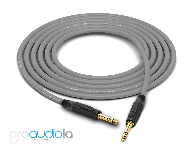 "35/' Canare L-4E6S Quad Balanced Cable Neutrik Gold XLR Male to 1//4/"" TRS Blue"