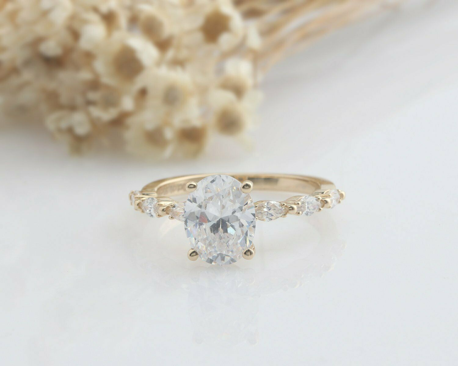 2.28 Tcw Oval & Marquise Cut Engagement Ring in Yellow Gold