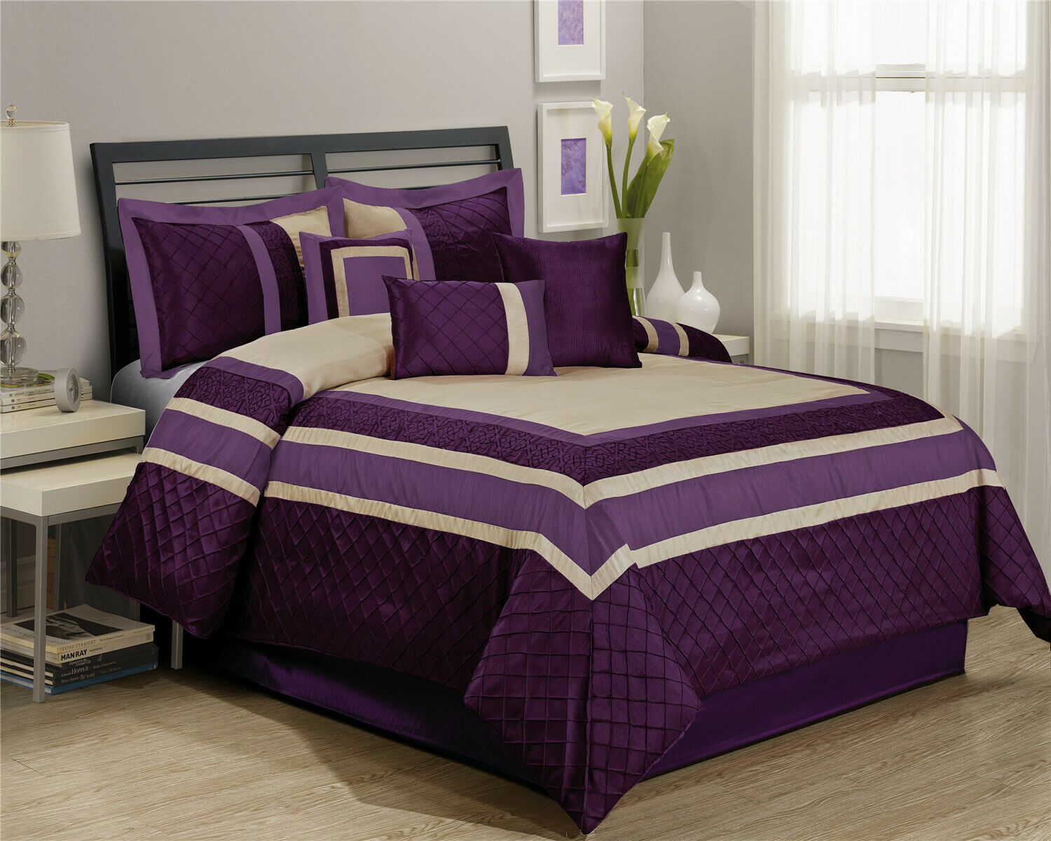 7 piece embroidery patchwork bed in a