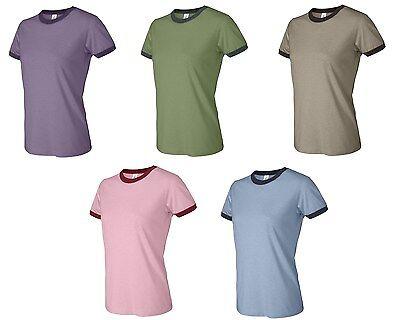 Bella Ladies S M L XL 2XL Baseball Ringer Short Sleeve T-Shirt TEE Womens 6050 - Ladies Baseball Ringer T-shirt