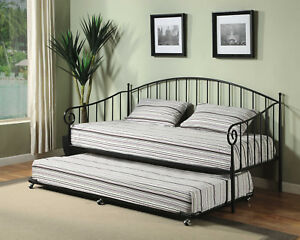 Kings Brand Furniture Black Metal Twin Size Day Bed (Daybed) Frame with Trundle