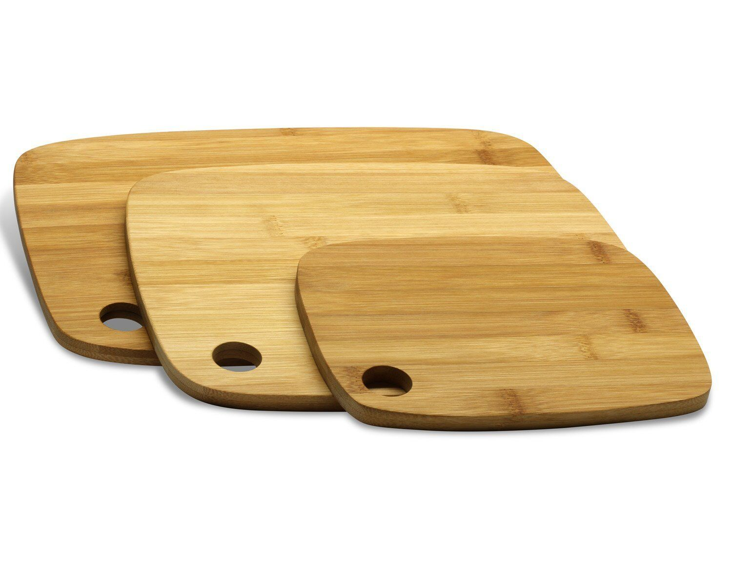 Bamboo Cutting Board Set 3 Piece Kitchen Choping Accessory Boards Dpldc Ebay